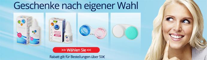 Kontaktlinsen mit pflegemittel und geschenke