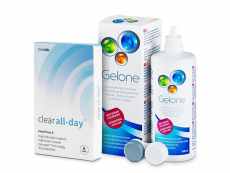 Kontaktlinsen Clear Lab - Clear All-Day (6 Linsen) + Gelone 360 ml