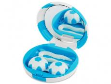 Behälter und Reise-Kits - Kontaktlinsen-Etui Fußball - blau
