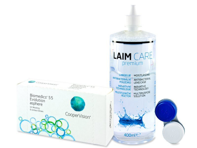 Biomedics 55 Evolution (6 Linsen) + Laim-Care400ml