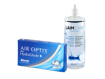 Air Optix plus HydraGlyde (3 Linsen) + Laim-Care 400 ml