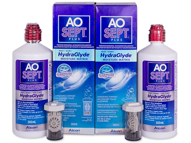 AO SEPT PLUS HydraGlyde 2 x 360 ml  - Pflegelösung – günstigeres Duo Pack - Alcon