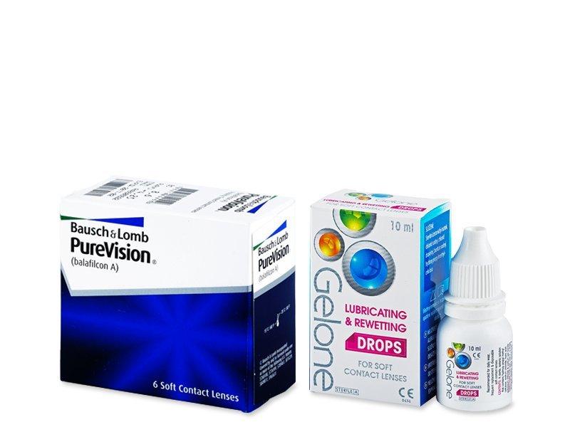 PureVision (6 Linsen) +Gelone Drops 10ml