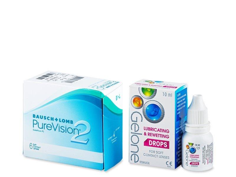 PureVision 2 (6 Linsen) +Gelone Drops 10ml