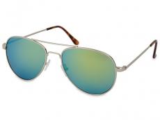 Sonnenbrillen Damen - Sonnenbrille Silber Pilot - Blau / Grün