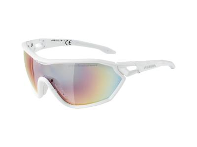 Sonnenbrillen Alpina S-Way QVM+ White Matt/Quattro Varioflex Rainbow Mirror