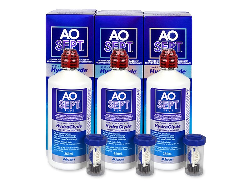 AO SEPT PLUS HydraGlyde 3 x 360 ml  - Pflegelösung – 3er Pack - Alcon