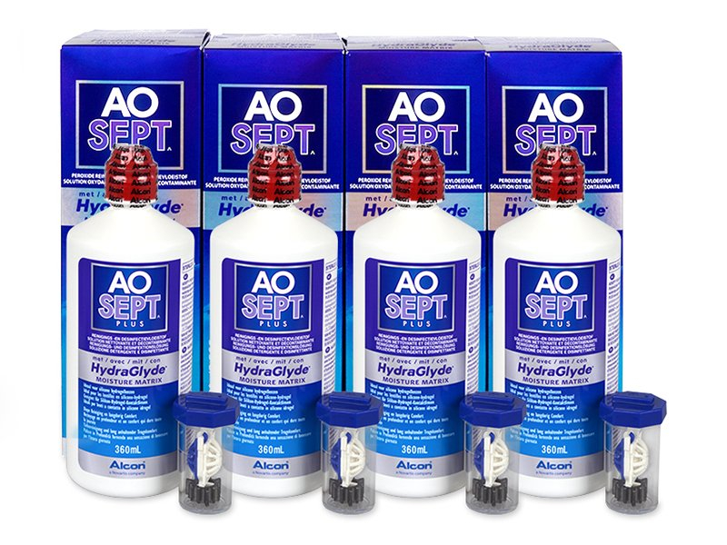 AO SEPT PLUS HydraGlyde 4 x 360 ml  - Pflegelösung – 4er Pack - Alcon